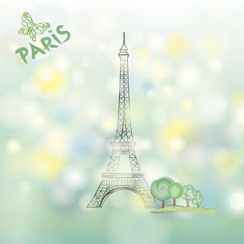Paris-Zeichen berühmter Eiffelturm Reise-Frankreich-Frühlingshintergrund vektor