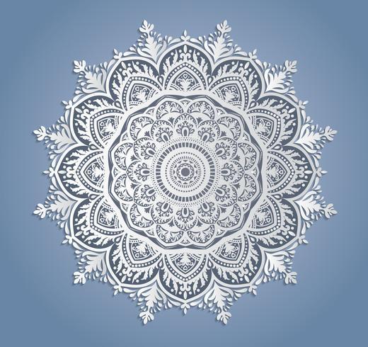 Vector weiße Spitzedekoration, runden Spitzen- Doily, Ausschnittpapierkreisverzierung
