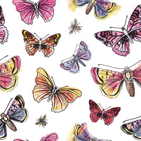 Schmetterling nahtlose Muster. Blumenhintergrund der Sommerferien-wild lebenden Tiere. vektor
