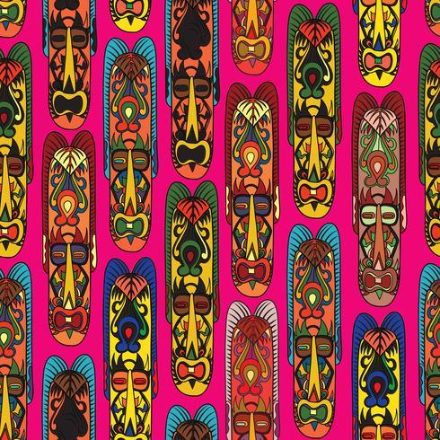 Ethnisches nahtloses Muster, Stammes- Art. Afrikanische Maske mit Ziegeln gedeckter Hintergrund. vektor