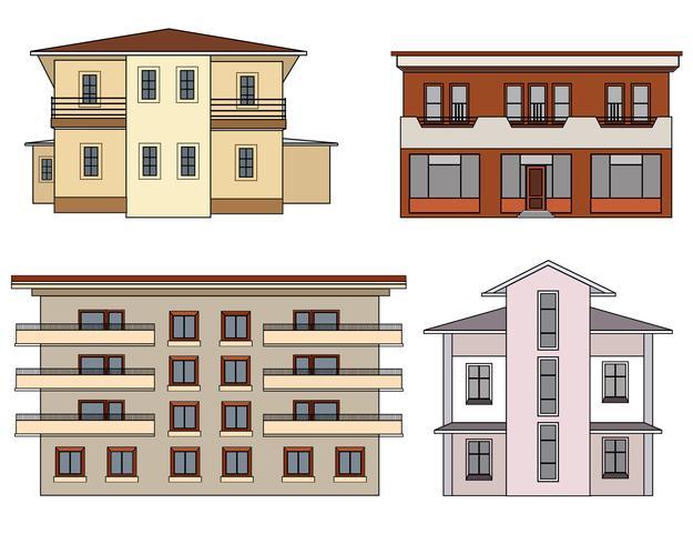 Haus Vorderansicht festgelegt. Lokalisierte Sammlung des Stadtgebäudes Fassade. vektor