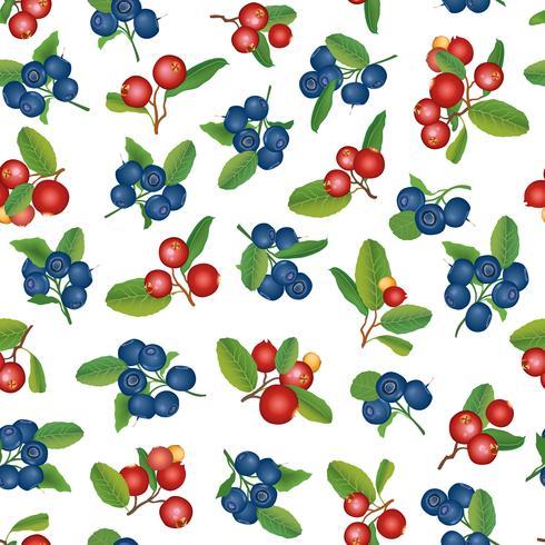 Tranbär sömlösa mönster Berry blommig bakgrund. Sommarmat vektor