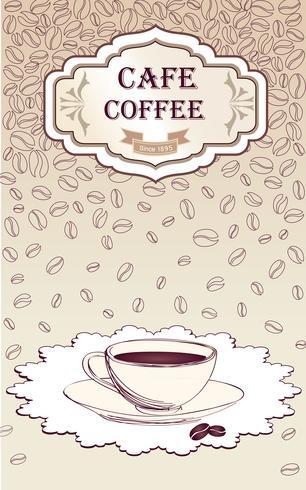 Kaffee heißes Getränk. Cafe Karte Hintergrund. Retro Muster der Kaffeebohnen. vektor