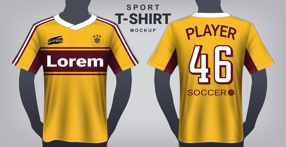 Fotbollströja och Sport T-Shirt Mockup Mall. vektor