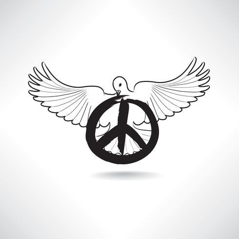 Friedenszeichen. Taube, Pazifismuszeichen. Internationales Friedenstag-Emblem. vektor