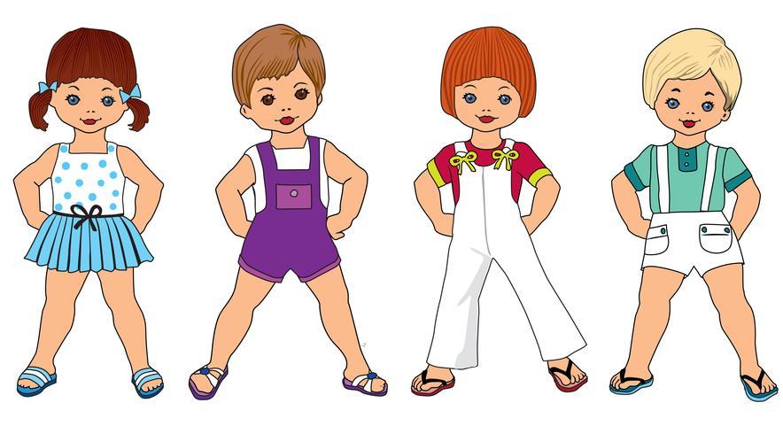 Barn set Happy kids tecknad, sommarklänning Baby lek Barn promenader vektor