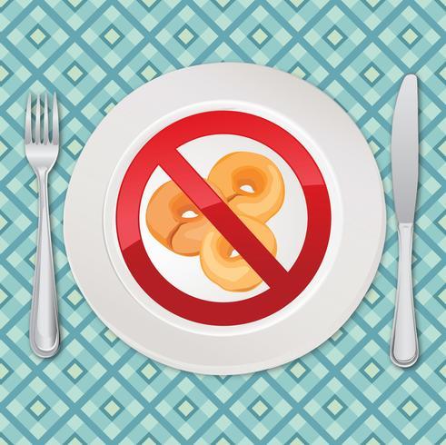Glutenfreie Symbol. Kein Brotzeichen. Symbol für kalorienreiches Essen verbieten vektor