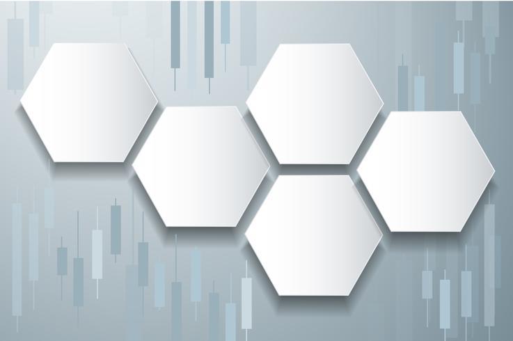 Börsenhintergrundvektor des Hexagons und des Kerzenständers vektor