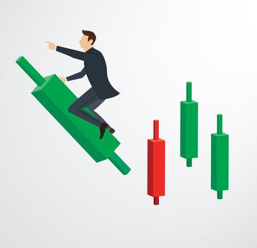 Geschäftsmann Reiten auf Candlestick Chart Hintergrund Vektor