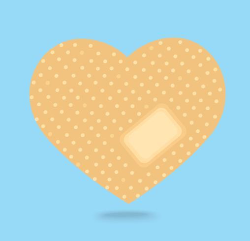 stickande gips i hjärtformat vektor, medicinsk symbol vektor