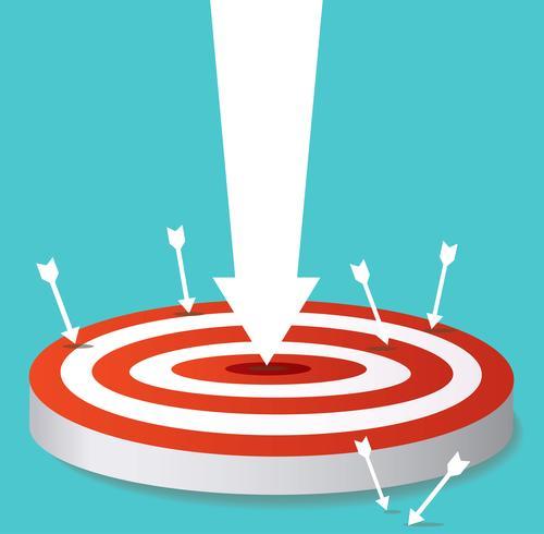 Pfeilsymbol auf Ziel Bogenschießen Vektor