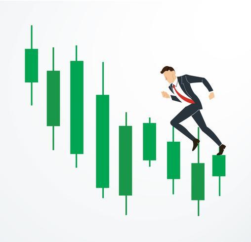 löpande affärsman på ljusstake börsen vektor