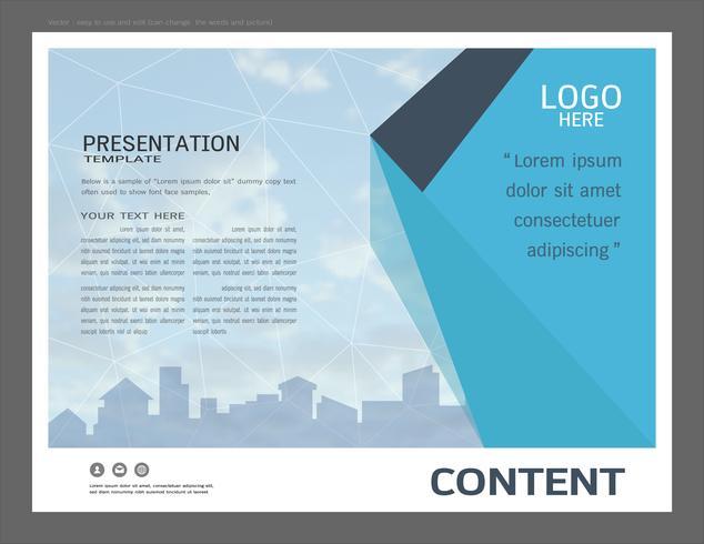 Präsentationsdesignschablone, Stadtgebäude und Immobilienkonzept. vektor