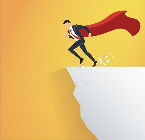 affärsman med cape övervinna hinderkrisen riskbegreppet vektor