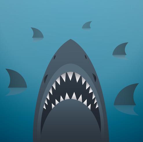Haifischvektorillustration und Raumhintergrund vektor