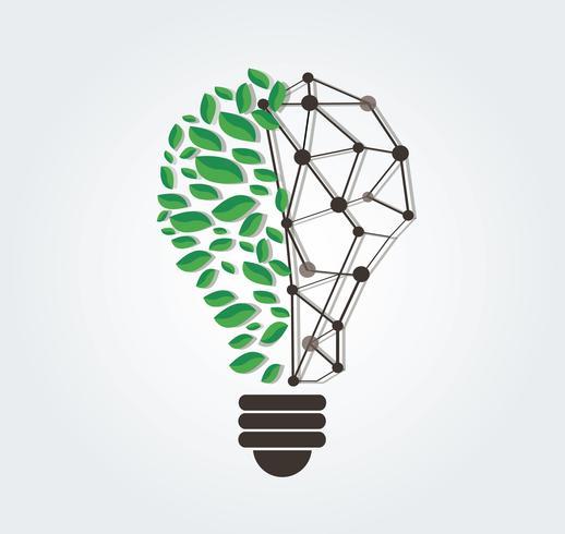 gröna blad i lampa form och teknik linje vektor, natur eko koncept, World Environment Day vektor