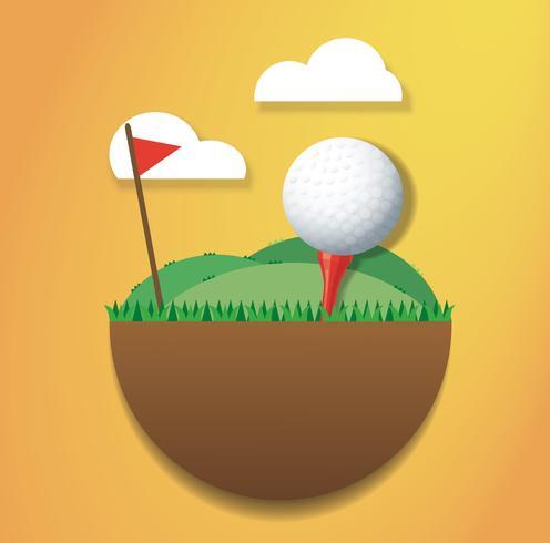Golfball auf Grundinsel und Vektor der roten Fahne