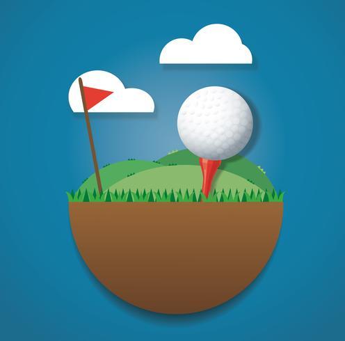 Golfboll på marken ö och röd flagg vektor