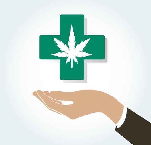 Hand hält Cannabis-Therapie-Symbol für Medizin und Gesundheitswesen vektor