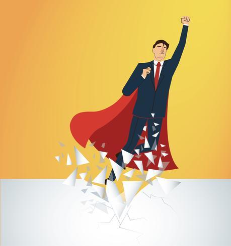 Erfolgreicher Geschäftsmann und rotes Kap, die den Wandvektor brechen. Geschäftskonzept Illustration. vektor