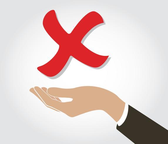 Hand, die Symbolsymbol der falschen Kontrolle hält vektor