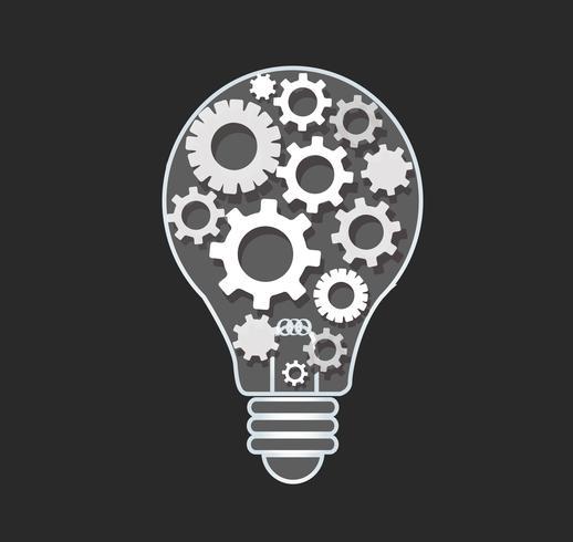 Zahnräder in Form einer Glühbirne, abstrakte Zahnräder Konzept des Denkens vektor