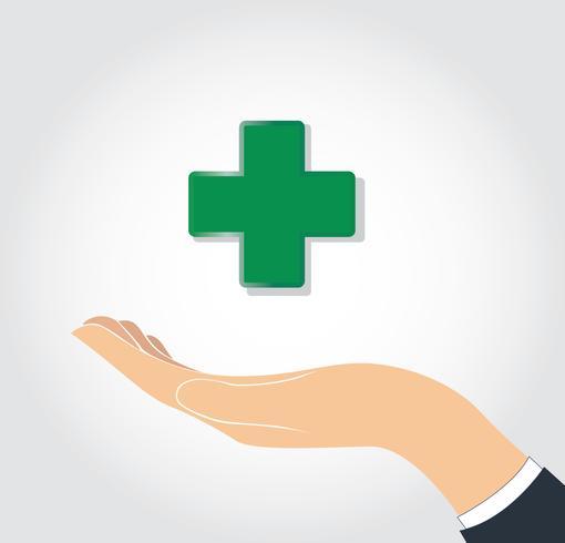 hand som håller medicinsk ikon vektor
