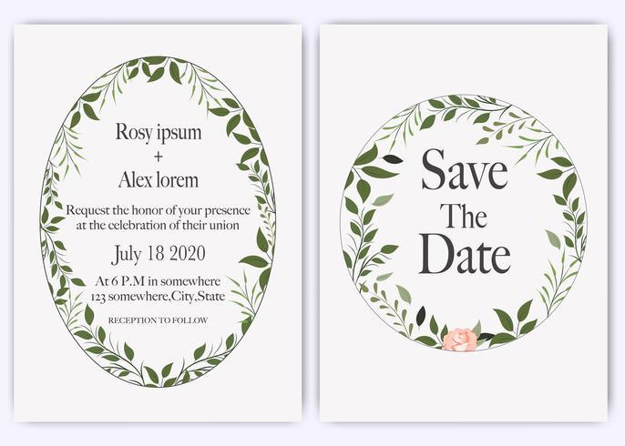 Hochzeit laden, Einladung, Save the Date Kartenentwurf mit eleganter Lavendelgartenanemone ein. vektor