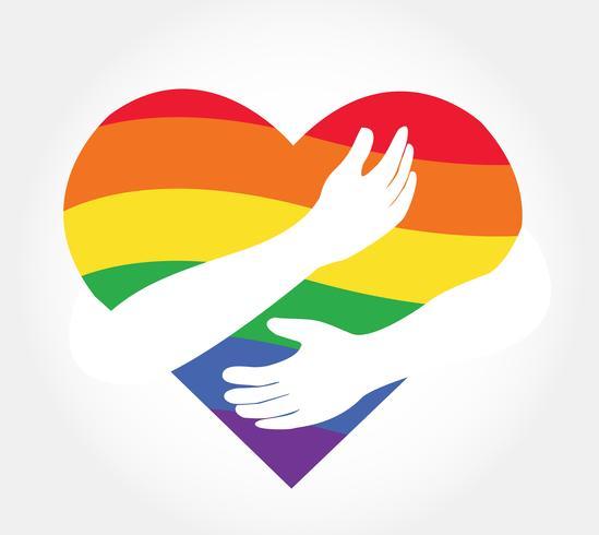 Umarmen des Regenbogenherzvektors, Liebe LGBT-Regenbogenflagge in der Herzform vektor