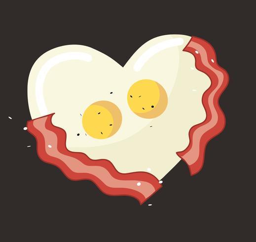 Stekt ägg och bacon i hjärtformat vektor