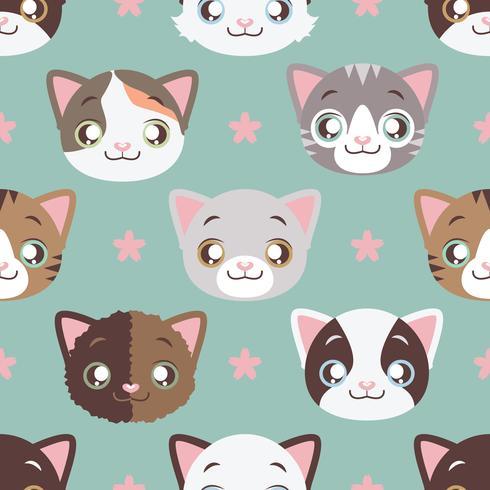 16 Kitty huvud ikoner med lång skugga vektor