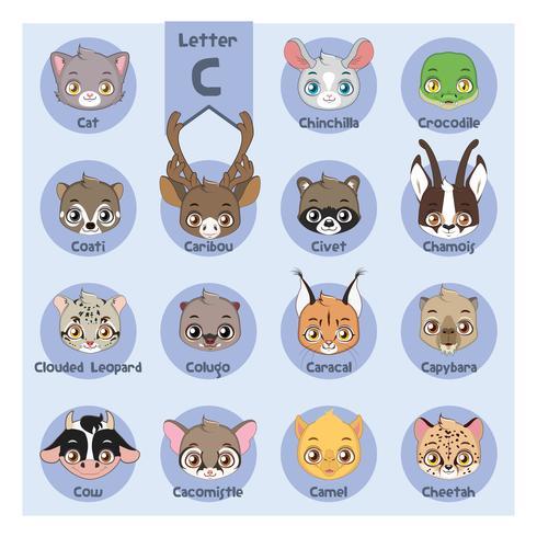 djurporträtt alfabet - bokstav c vektor