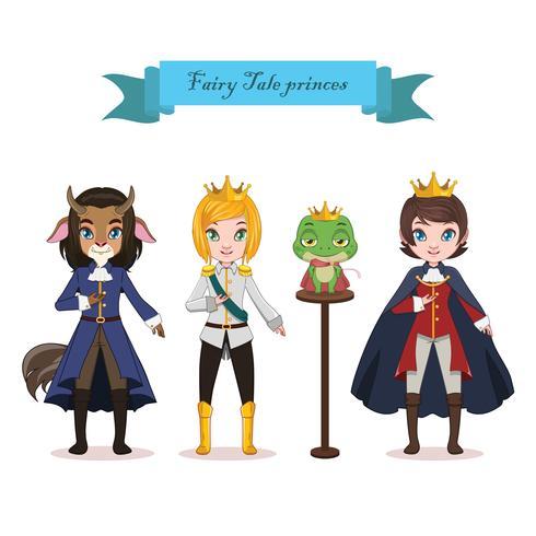 Samling av fyra saga prinsar vektor