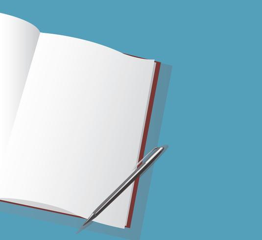 der leere Notizbuch- und Stiftvektor vektor