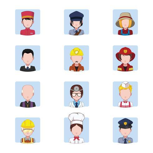 Samling av avatarer som visar jobb vektor