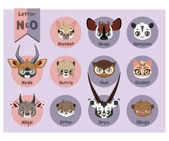 Tierporträtalphabet - Buchstabe N und O vektor