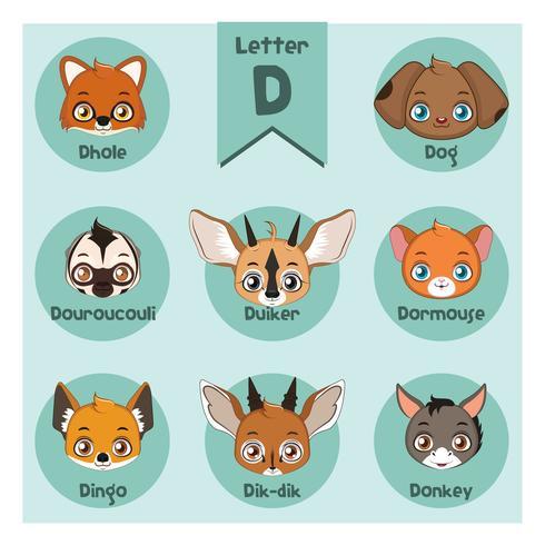 Animal Portrait Alphabet - Letter D vektor