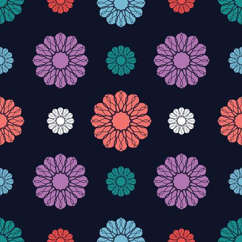 Blomstermotiv sömlös bakgrund vektor