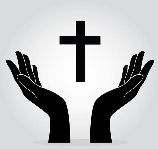 händer som håller korset vektor
