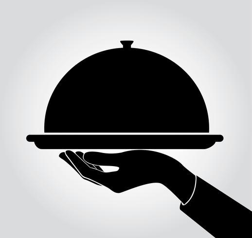 Kellner / Kellnerin servieren Symbol, Teller vektor
