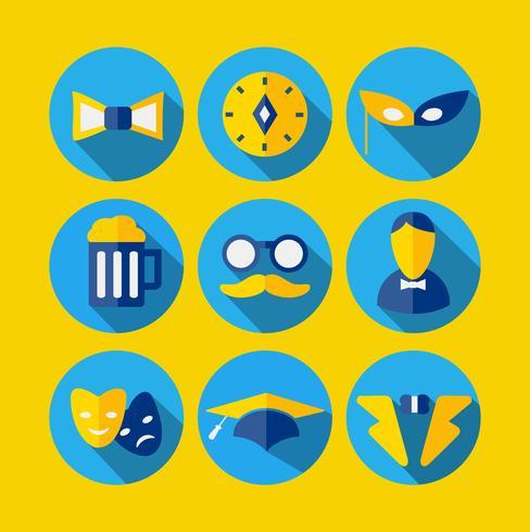 Olika ikoner i plattstil vektor