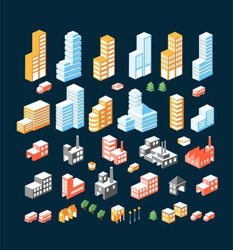 stor uppsättning isometriska byggnader vektor