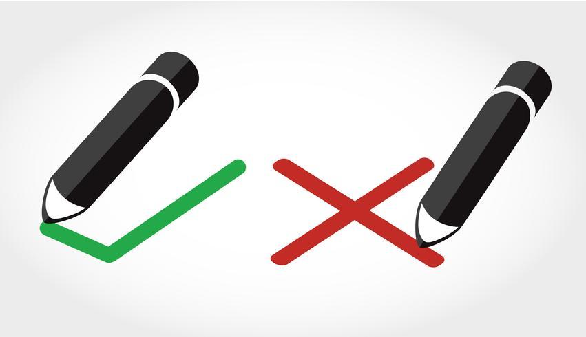 True / False-Symbol Vektor, Bleistift schreiben True / False-Symbol vektor