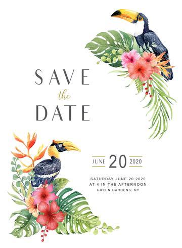Akvarell tropisk Stor Hornbill och Toucan i Hibiscus bukett. vektor