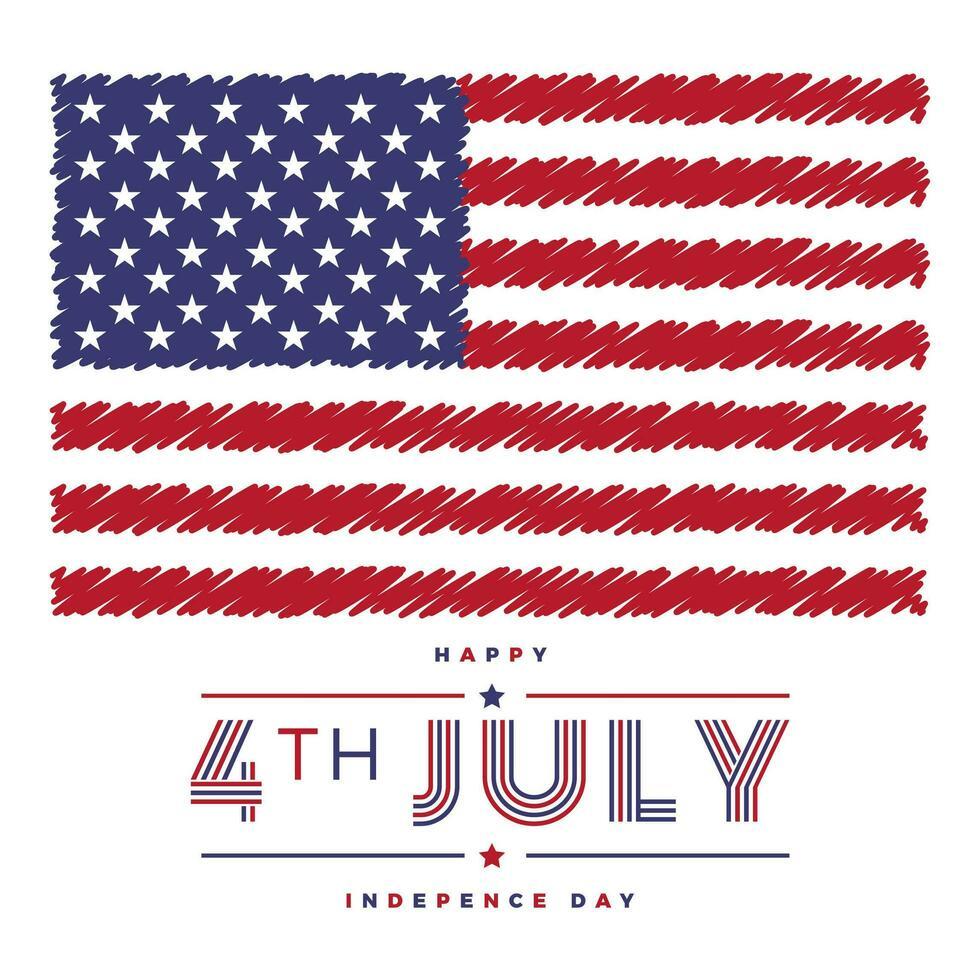 självständighetsdag illustration med amerikanska flaggan vektor