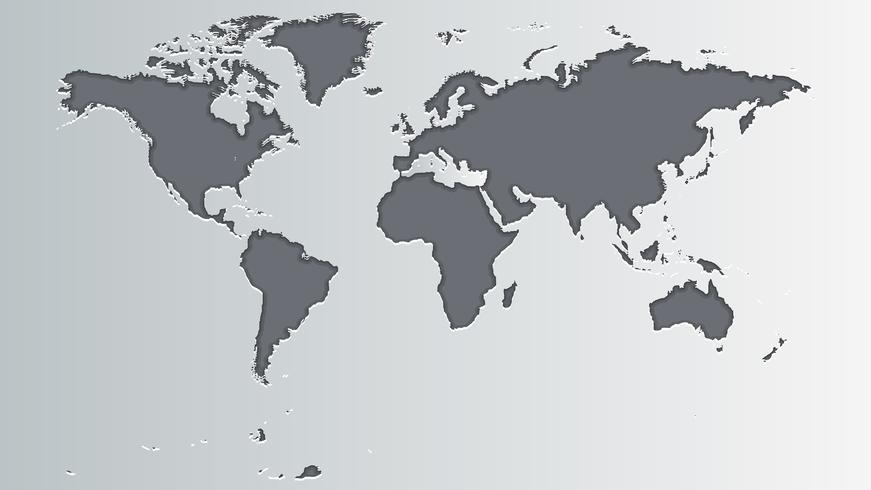 Världskarta Grå vektor