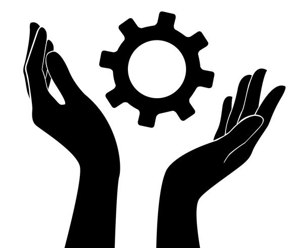 Hand, die Gang, Ingenieursymbol hält vektor