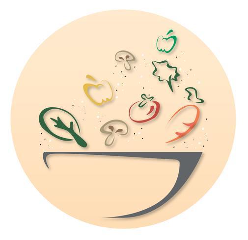 Salatschüssel-Design-Symbol vektor
