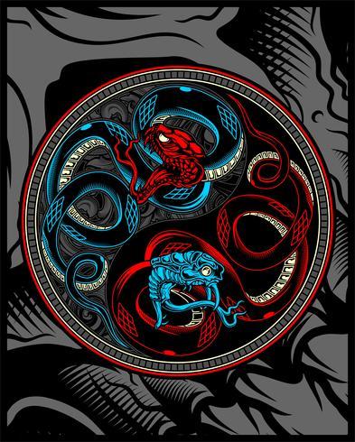 Doppelschlange, Schlange, die Yang-Vektorhandzeichnung ying ist vektor