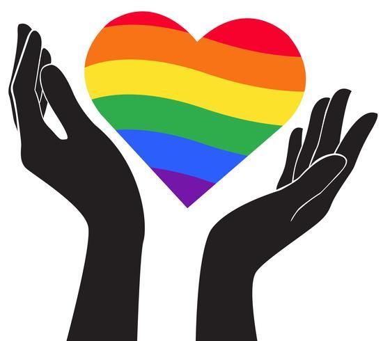 Hand, die Herzregenbogenflagge LGBT-Symbolvektor EPS10 hält vektor
